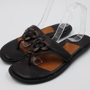 B.O.C. Button Detail Leather Thong Flip Flop